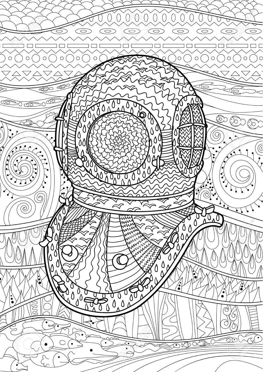 Antique Divers Helmet With High Details Coloring Pages For Adult