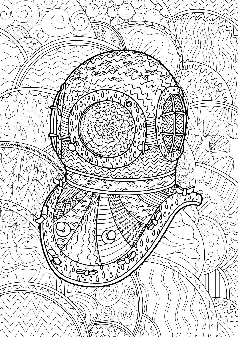 Antique Divers Helmet With High Details Coloring Pages For