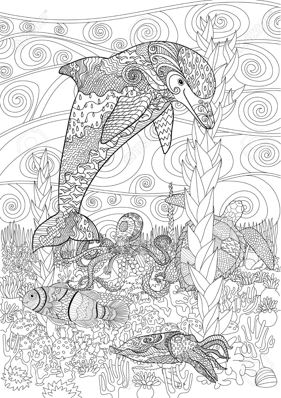 sea animals with high details antistress coloring page