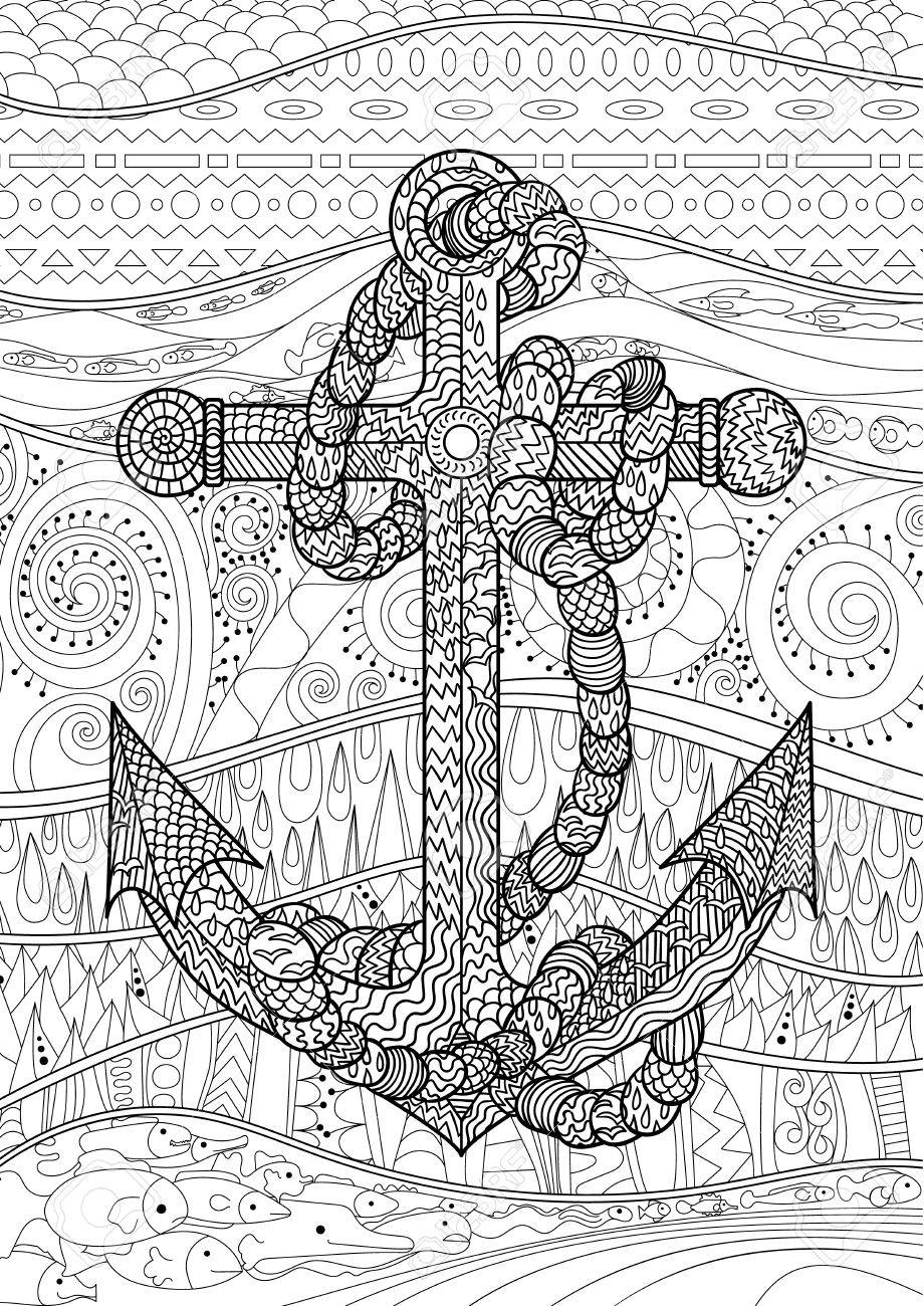 Illustration of an anchor and rope. Coloring page for adults...