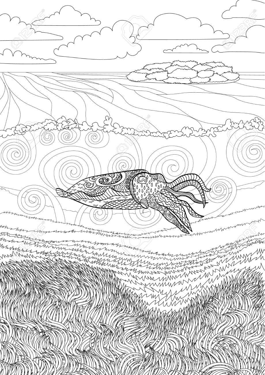 Cuttlefish With High Details Adult Antistress Coloring Page Underwater Seascape For Relax