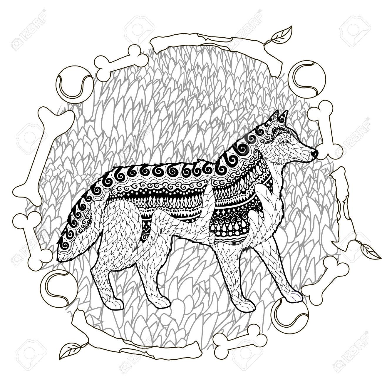 high detail patterned husky in entangle style coloring