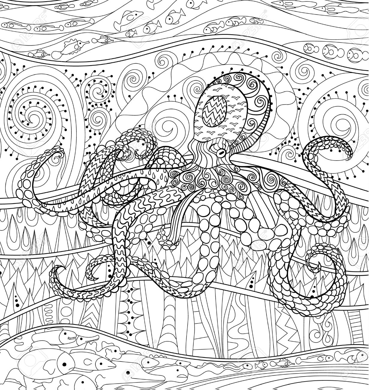 Adult antistress coloring page black white sea animal for art