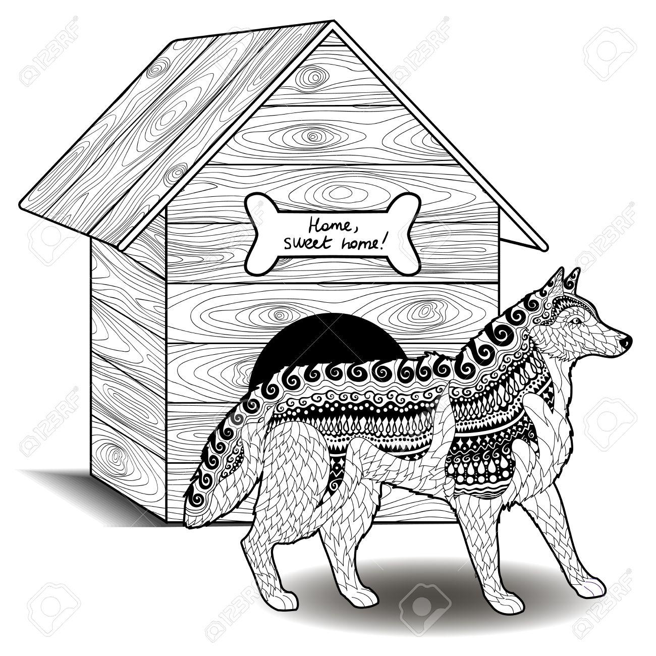 Kleurplaten Hondenhok.Alleen Kleurplaat Husky Hond Krijg Duizenden Kleurenfoto S Van De