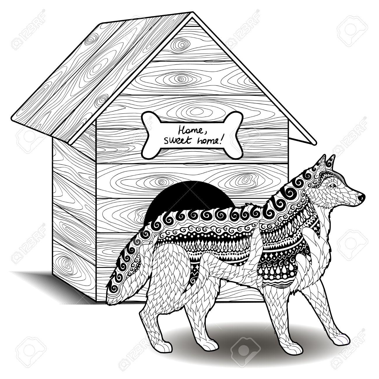 high detail patterned husky in style coloring page with
