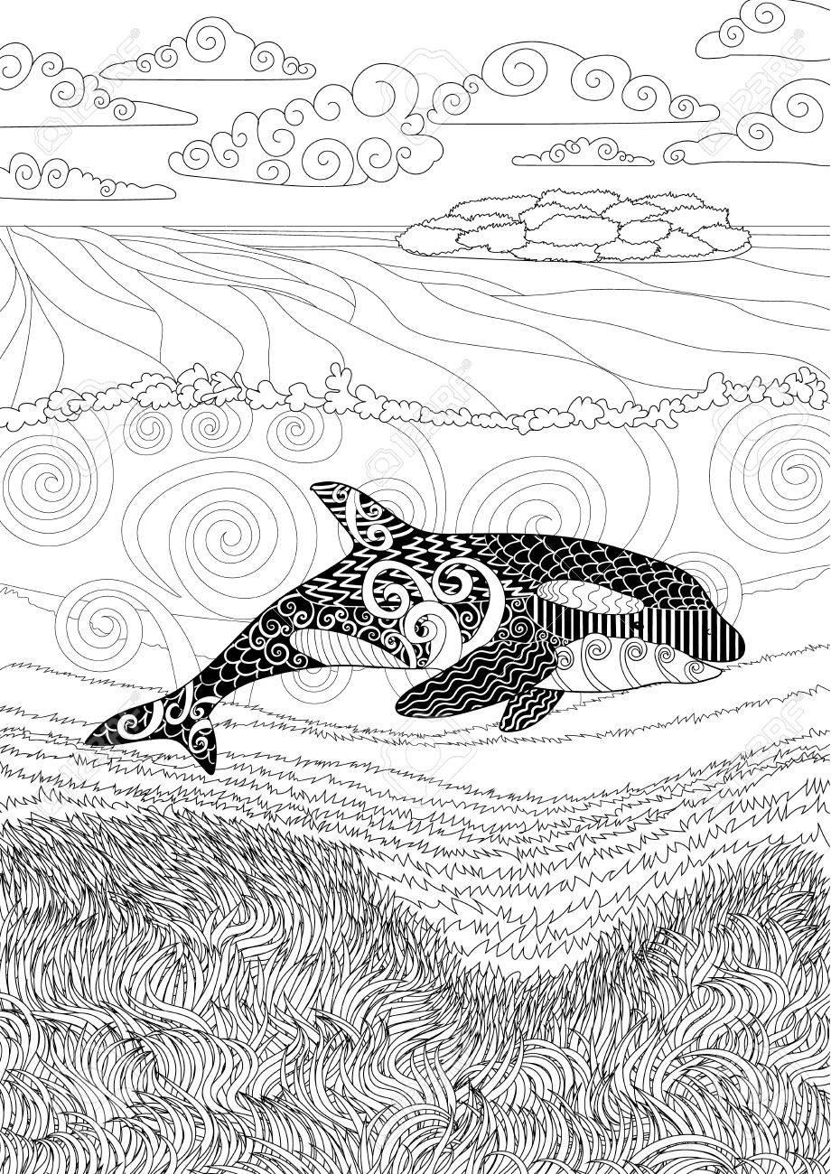 Orque Avec Des Détails élevés Adulte Coloriages Antistress Avec Orque Enchevêtrement Animaux Océaniques Pour L Art Thérapie Seascape Sous Marin