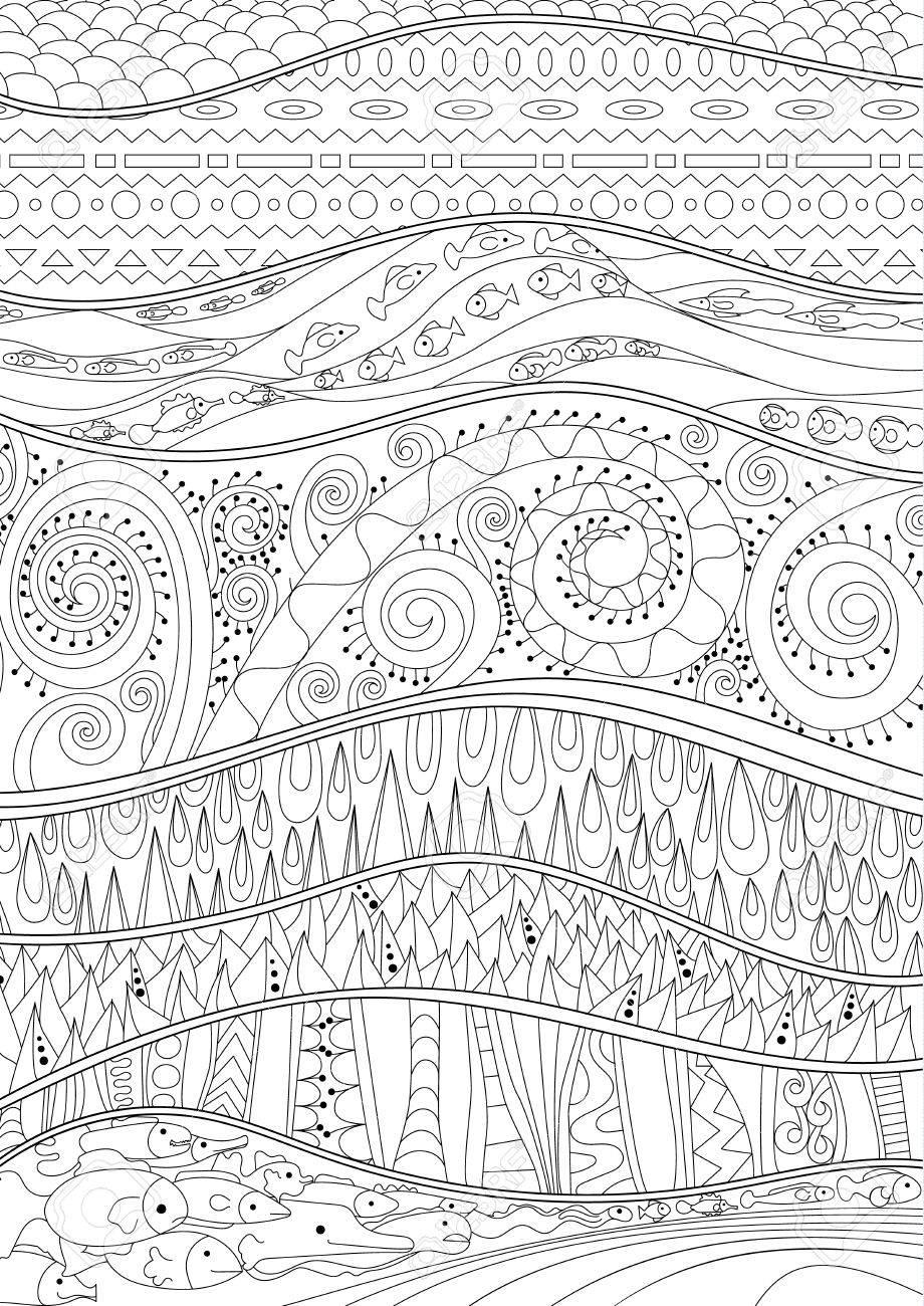 Coloriage Adulte Fond Noir.Fond De La Mer Avec Des Details Eleves Adulte Coloriages Antistress