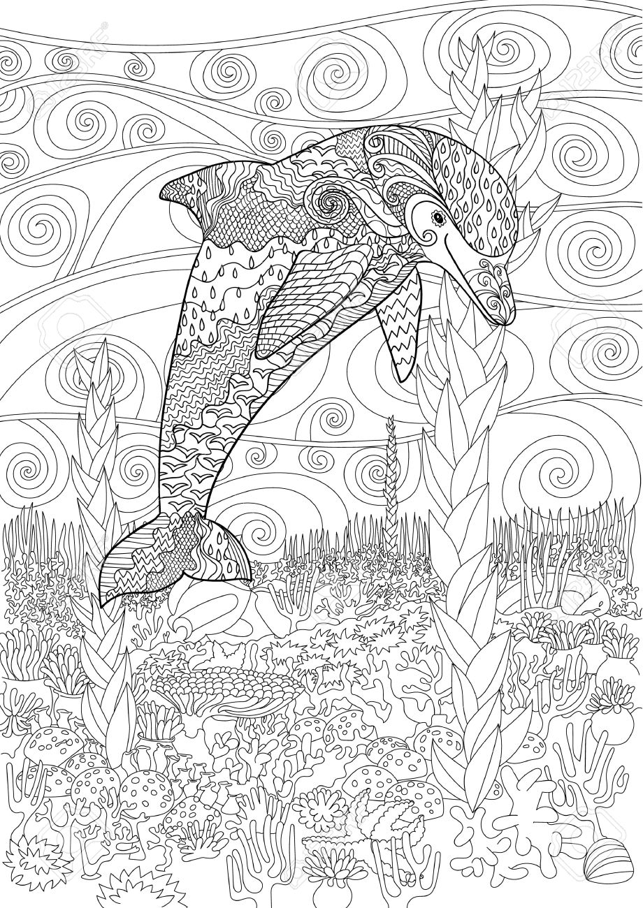 Adult Antistress Coloring Page Black White Doodle With Underwater