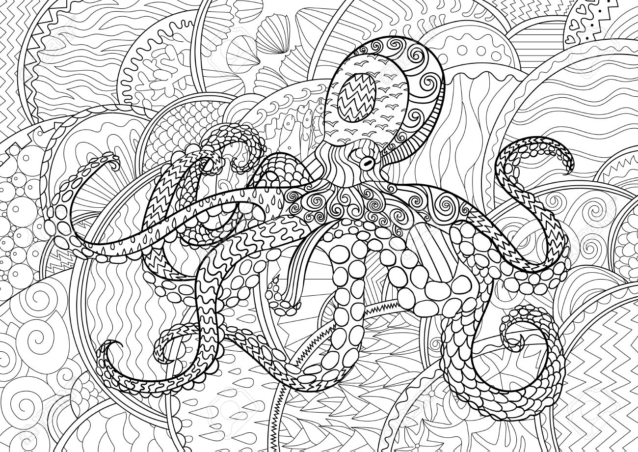 octopus with high details antistress coloring page black