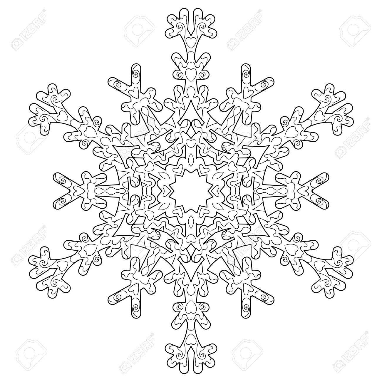 Ausmalbilder Für Erwachsene Winter : Hand Gezeichnet Anti Stress Schneeflocke Ma Werk Vorlage In