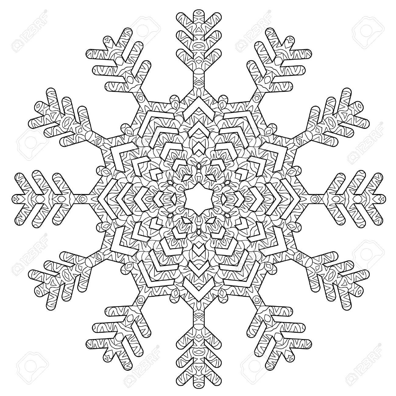 Hand Drawn Antistress Snowflake Tracery Template In Zentangle Royalty Free Cliparts Vectors And Stock Illustration Image 67823995