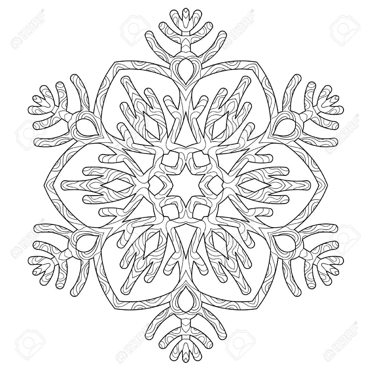 hand drawn antistress snowflake tracery template in zentangle