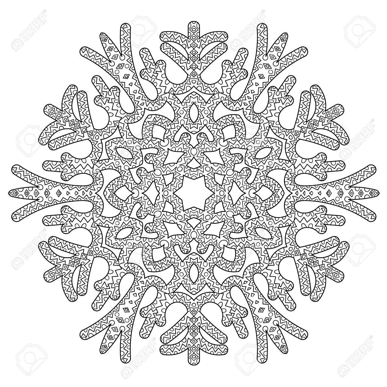 Hand Drawn Antistress Snowflake. Tracery Template In Zentangle ...