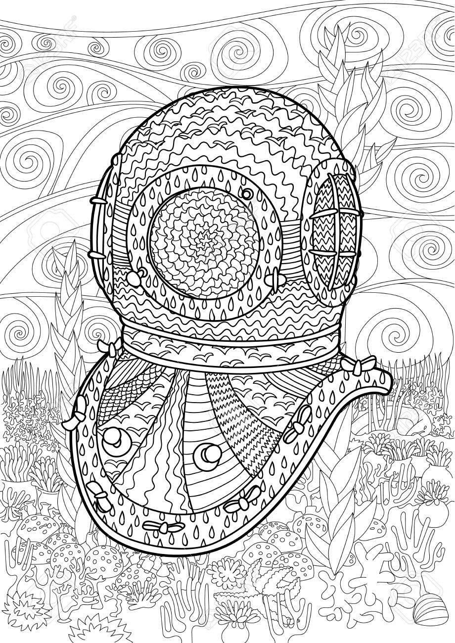 Antike Taucher Helm Hand Zeichnen Mit Hohen Details. Malvorlagen Für ...