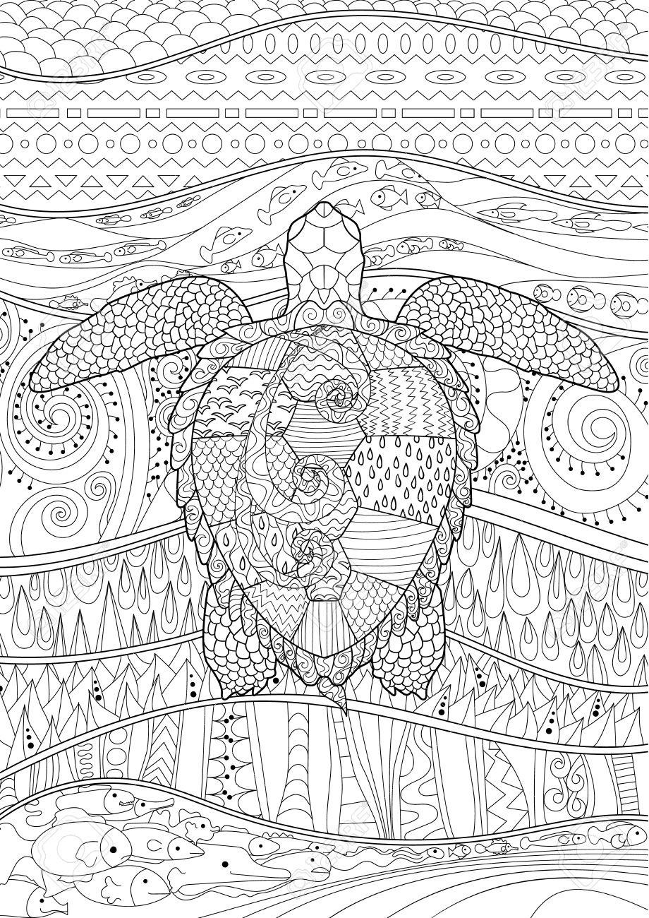 Piscina Tortuga Con Altos Detalles Para Colorear Página Anti Estrés La Ilustración En Estilo Tracería Resumen Patrón Con Los Elementos Oceánicos