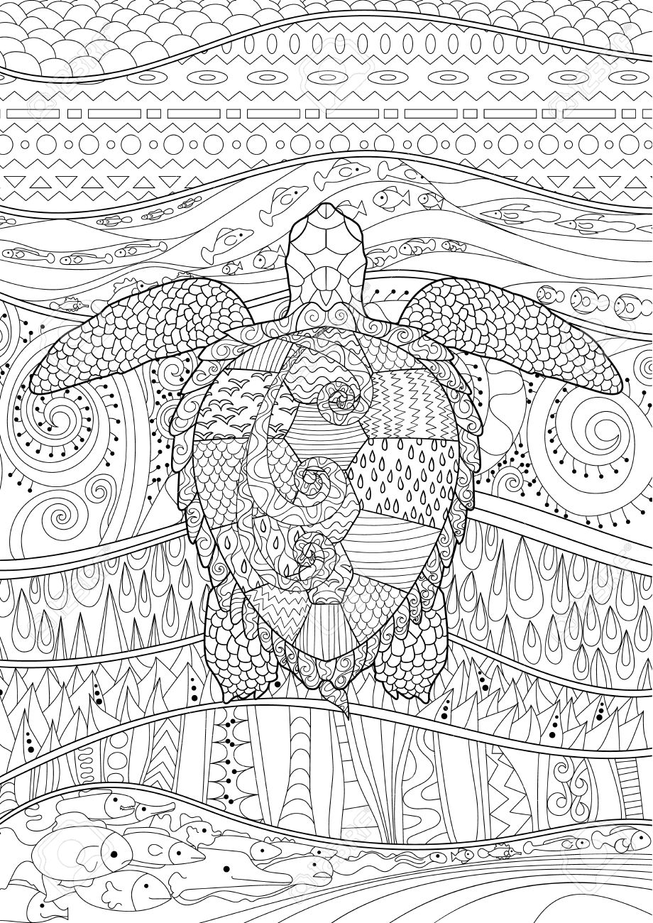 Swimming Turtle With High Details For Anti Stress Coloring Page Royalty Free Cliparts Vectors And Stock Illustration Image 68571219