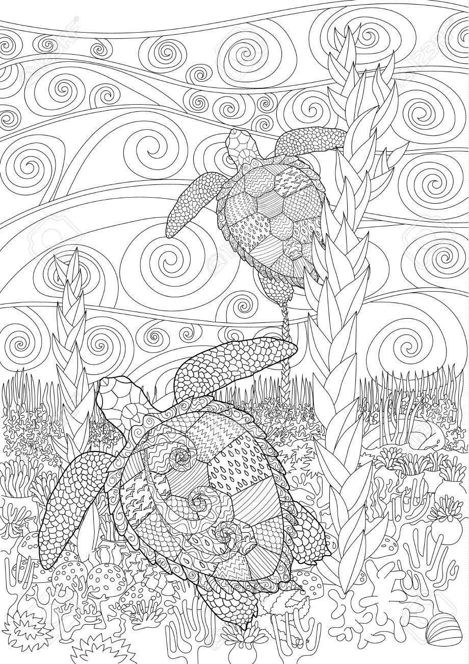 Swimming Sea Turtle For Anti Stress Coloring Page With High Details ...