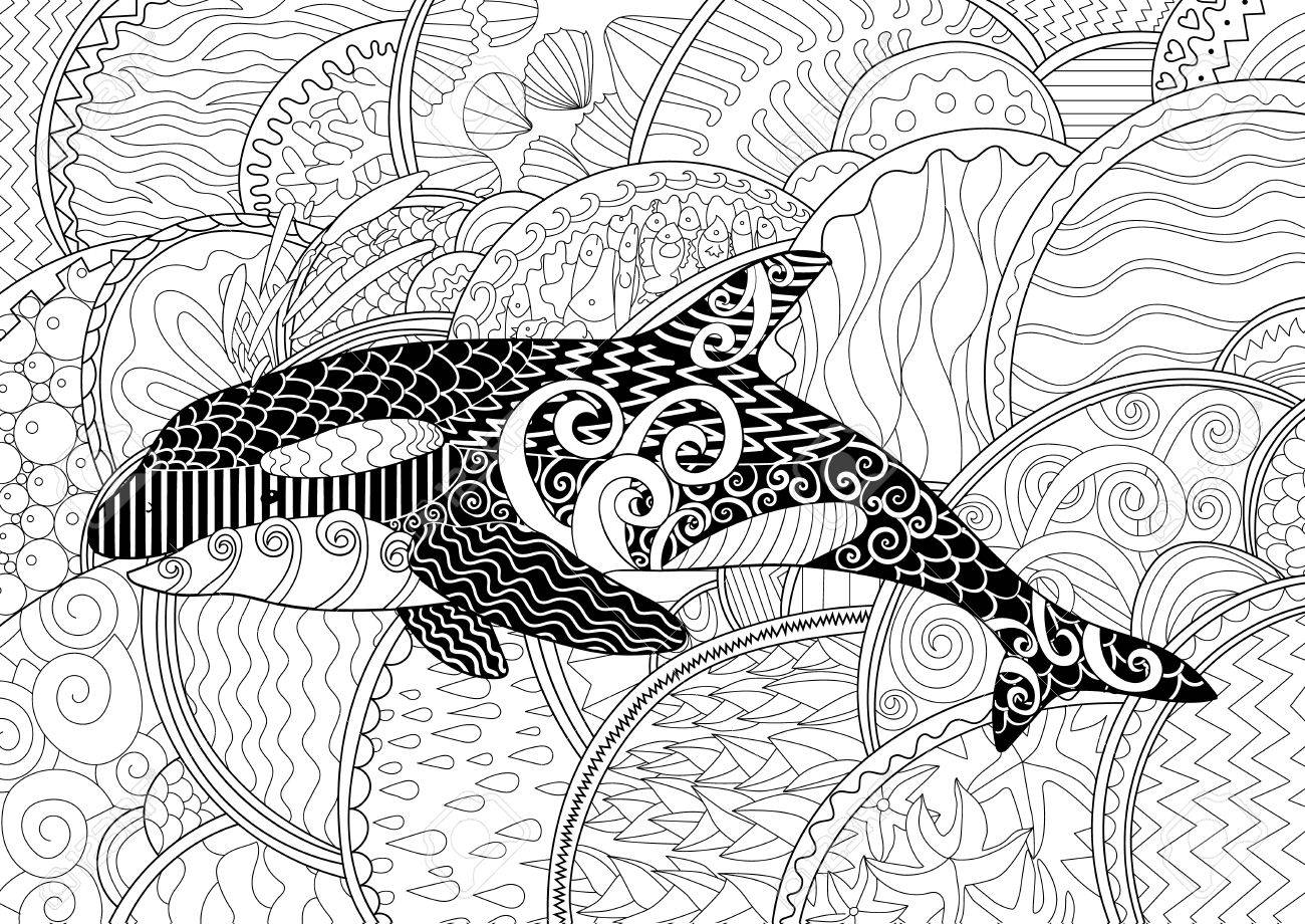 Coloring Pages Totem Animals : Killer whale with high details adult antistress coloring