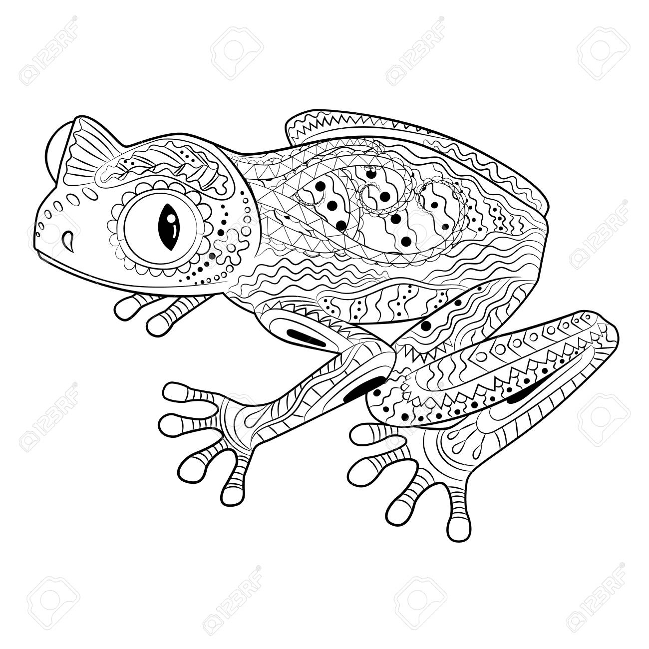 Coloring page with frog in zentangle style. - 104267679