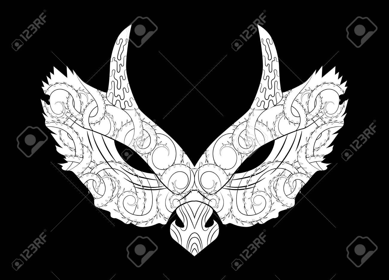 Adult coloring page with Halloween symbol - mask - 123192644