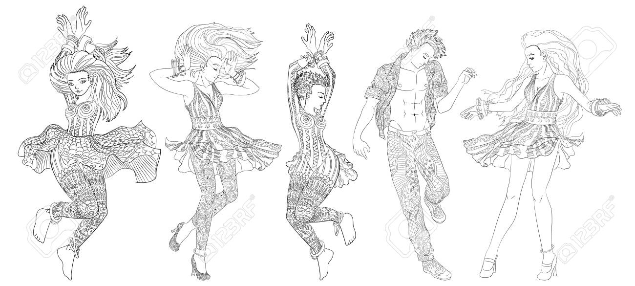 - Beautifull Dancing People In A Patterned Clothes. High Detailed.. Royalty  Free Cliparts, Vectors, And Stock Illustration. Image 128232405.