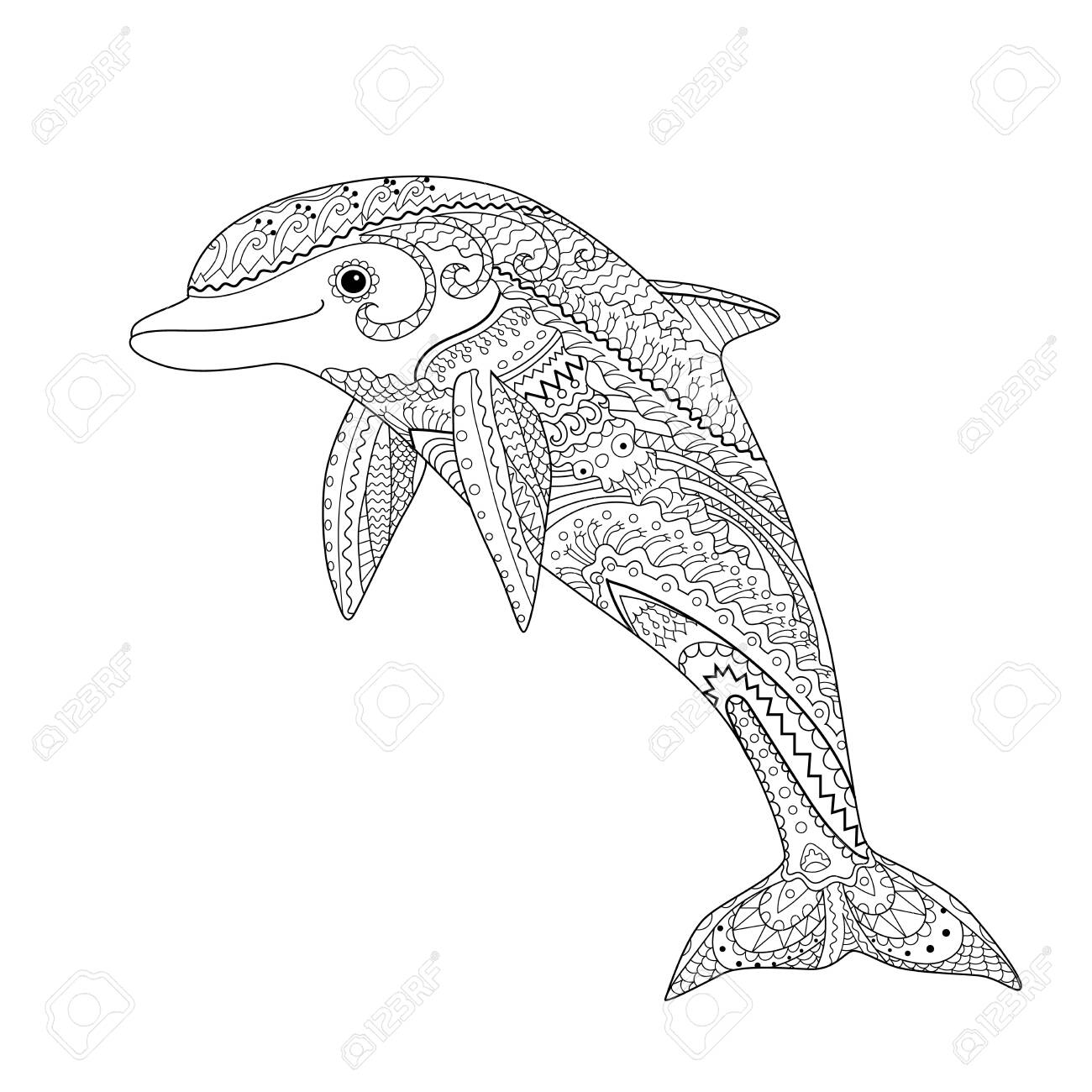Happy dolphin with high details. Adult antistress coloring page. Black white hand drawn doodle oceanic animal for art therapy. Sketch for tattoo, poster, print, t-shirt Vector illustration - 129009233
