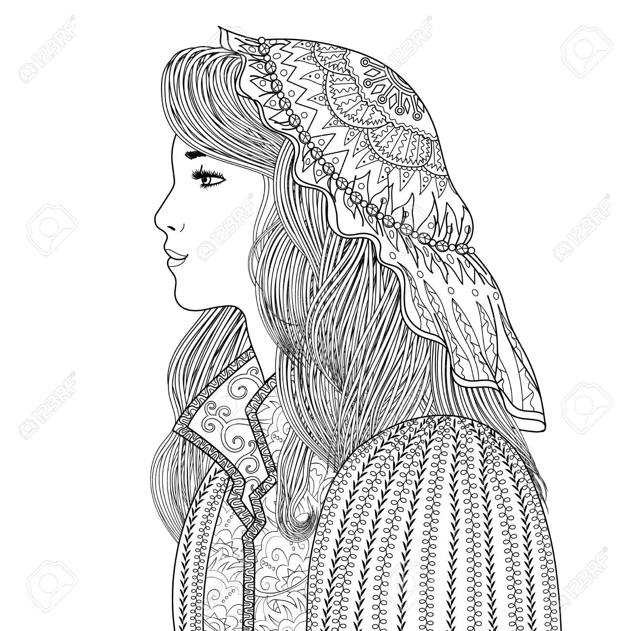 Coloring page for adults with beautiful fantasy lady in medieval dress. Coloring book with mysterious princess profile. Vector illustration - 140902223