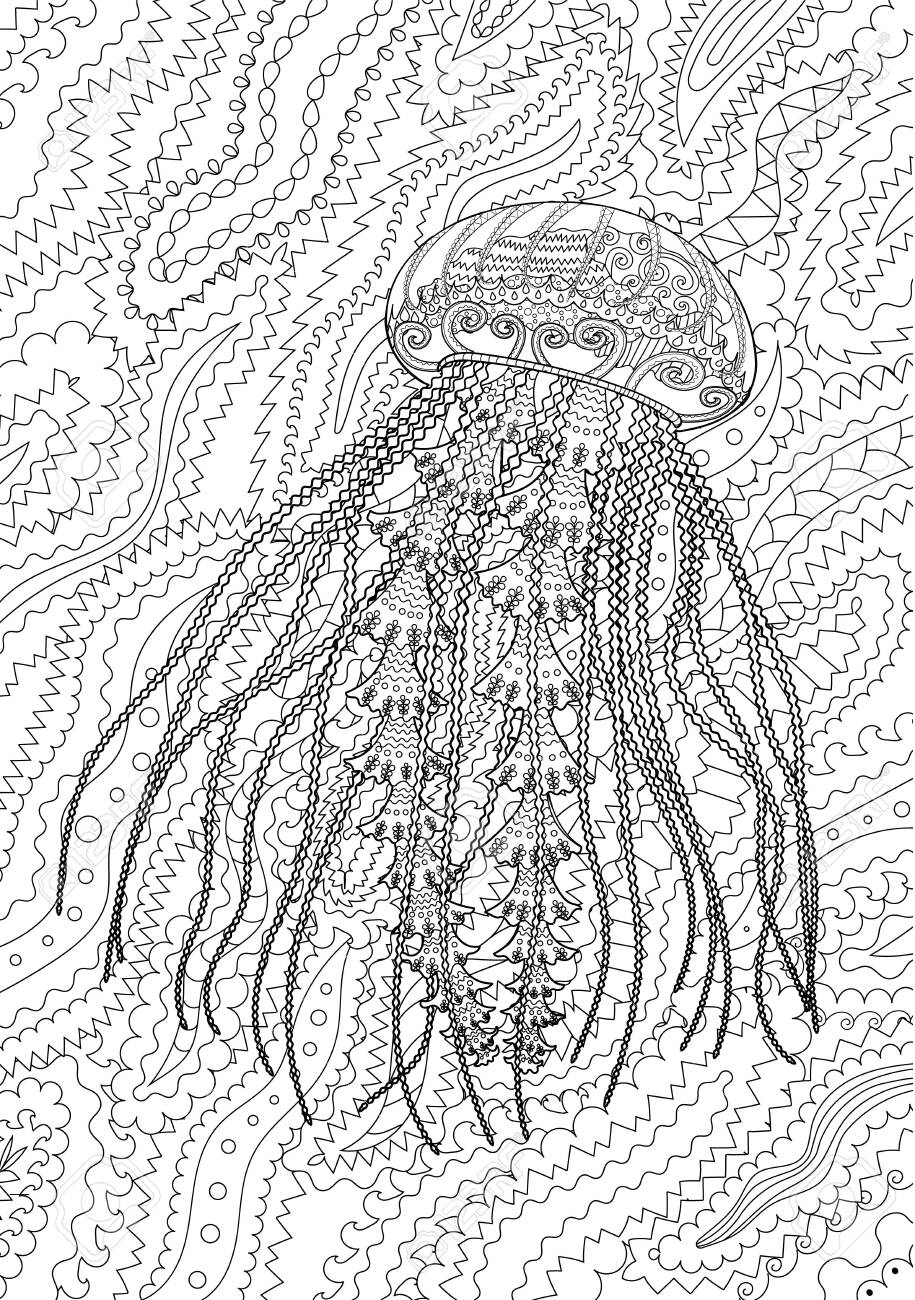 High Detailed Jellyfish For Adult Antistress Coloring Page Black Royalty Free Cliparts Vectors And Stock Illustration Image 141044932