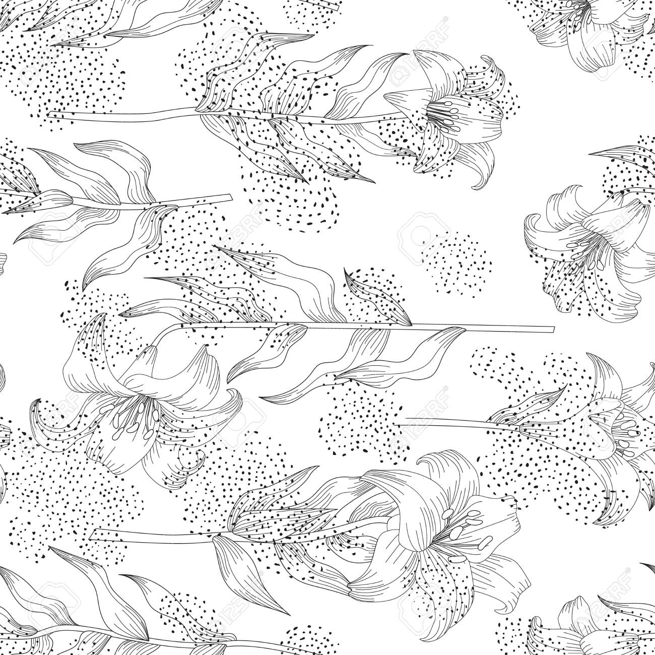 Seamless pattern with beautiful garden flowers - lilies. Coloring page with botanic objects for wrapping paper, cover of coloring book or textile design. Vector illustration - 147401469