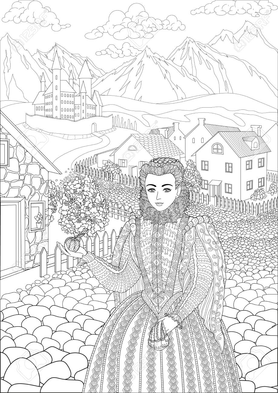 Coloring book for adults with beautiful medieval princess dressed in historical outfit stading in the cute village and beautiful castle in the background - 147401468