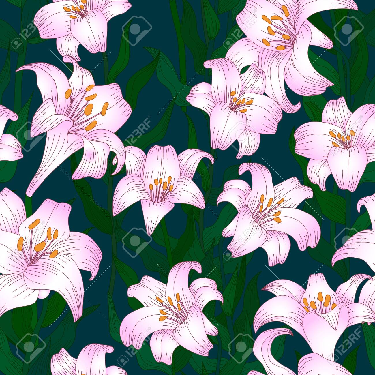 Seamless pattern with beautiful garden flowers - light pink lilies. Repetition texture with botanic objects for wrapping paper, web background or textile design. Vector illustration - 147401492