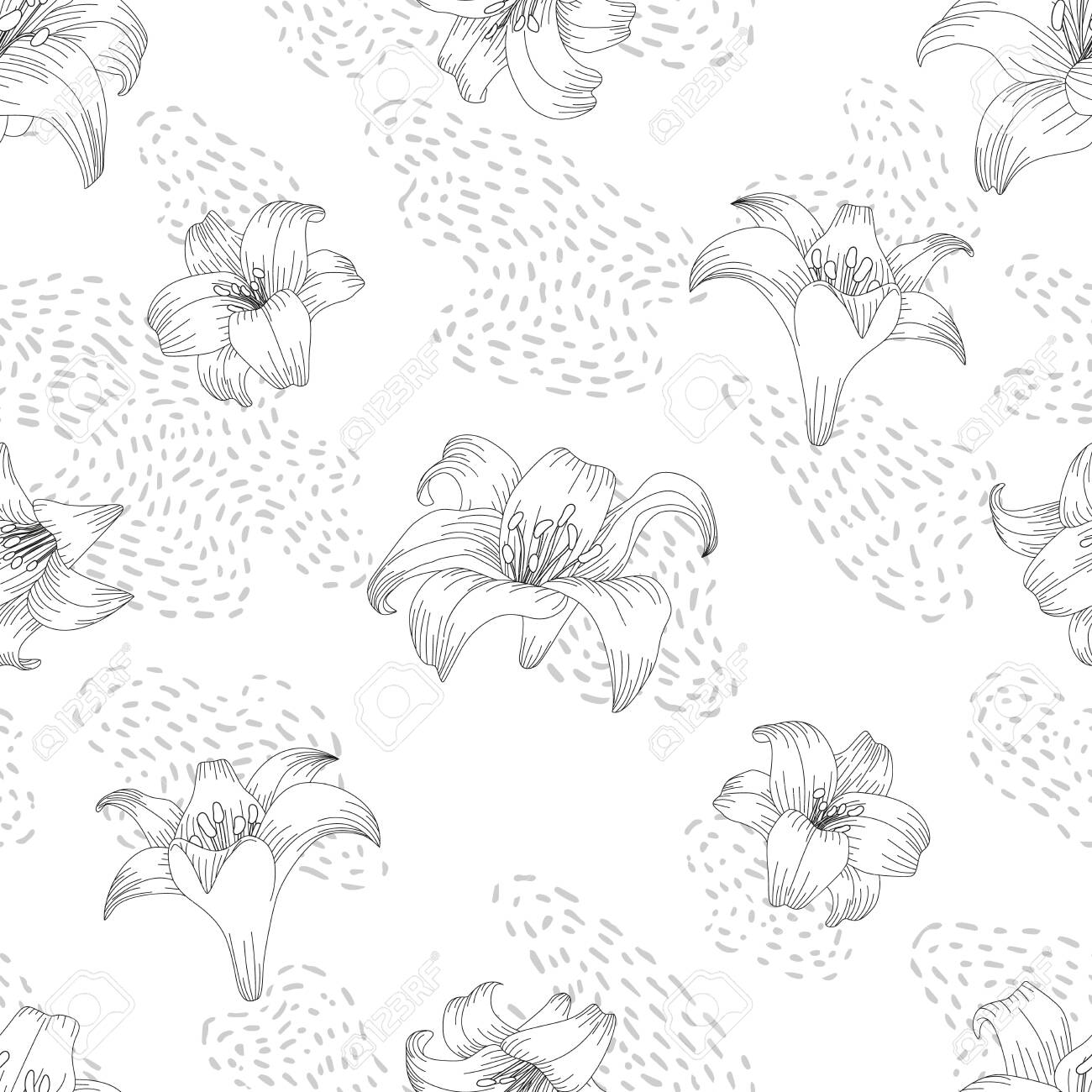Seamless pattern with beautiful garden flowers - lilies. Coloring page with botanic objects for wrapping paper, cover of coloring book or textile design. Vector illustration - 147797444