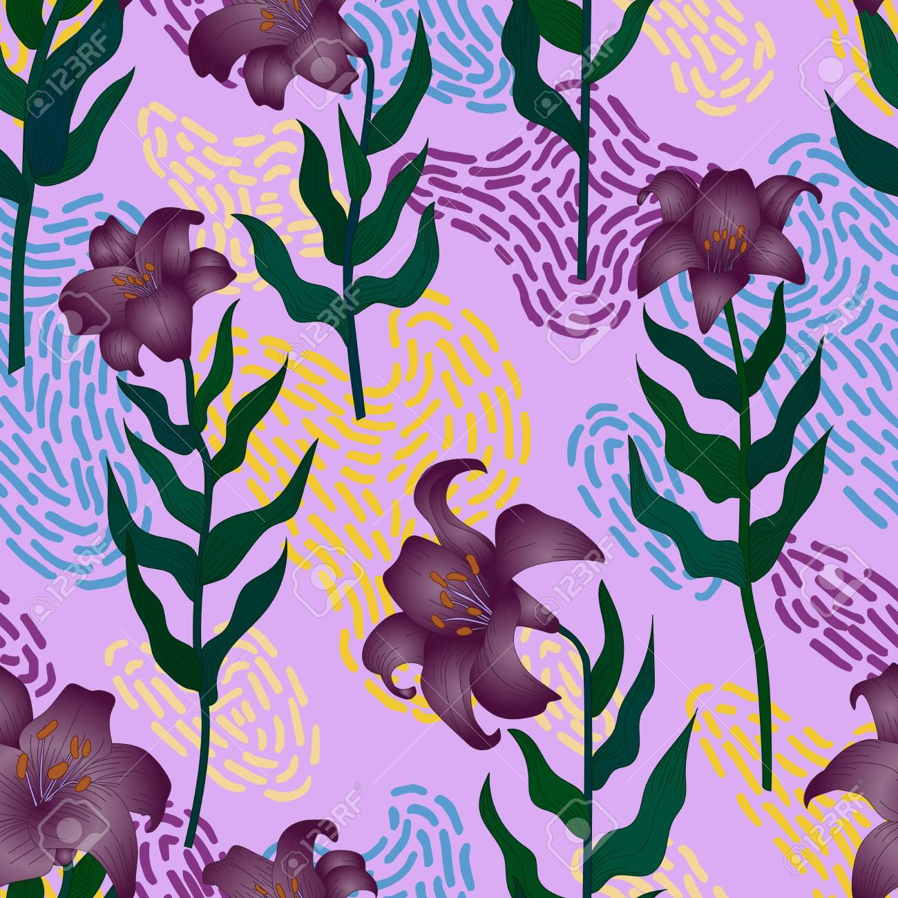 Seamless pattern with beautiful garden flowers - purple lilies. Repetition texture with botanic objects for wrapping paper, web background or textile design. Vector illustration - 147797447
