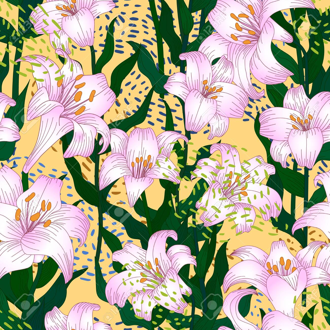 Seamless pattern with beautiful garden flowers - light pink lilies. Repetition texture with botanic objects for wrapping paper, web background or textile design. Vector illustration - 147797448