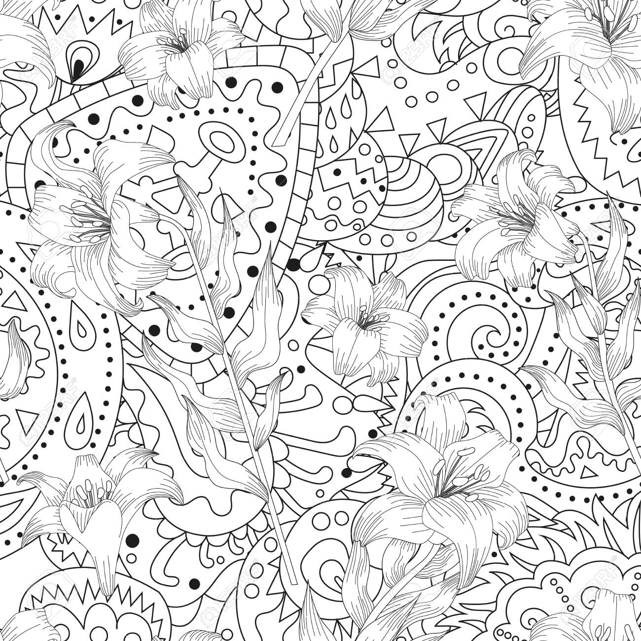 Seamless pattern with beautiful garden flowers - lilies and abstract ornament. Coloring page with botanic objects for wrapping paper, cover of coloring book or textile. Vector illustration - 147797491