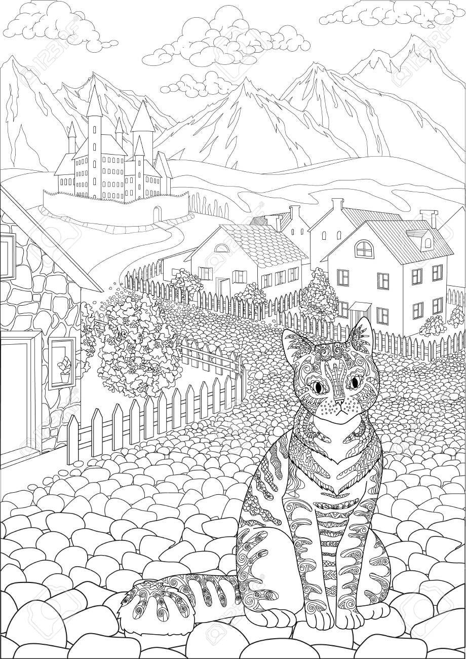 Coloring book for adults with cute cat sitting in front of a cute village and a beautiful castle in the background - 147797501