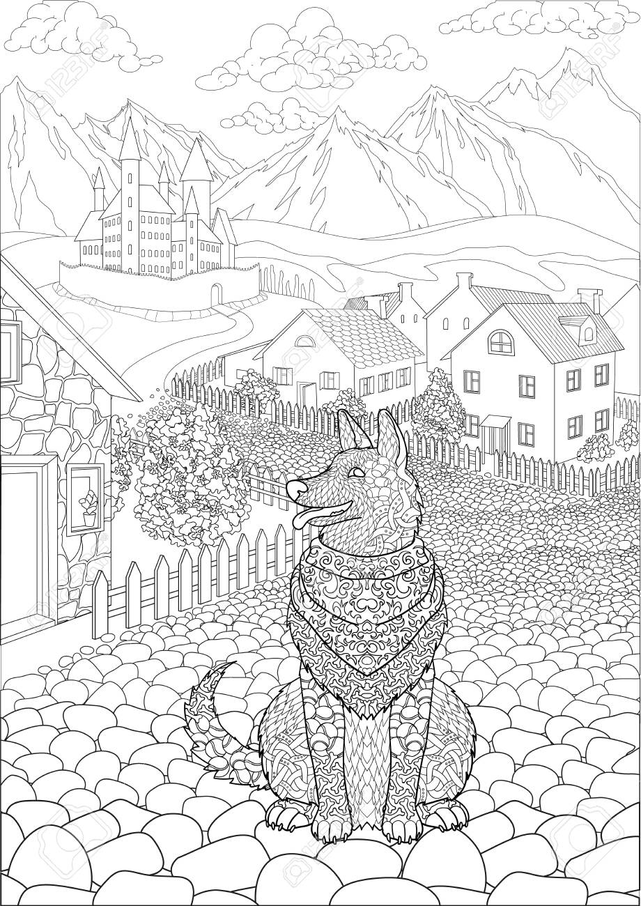 Coloring book for adults with cute dog sitting in front of a cute village and a beautiful castle in the background - 147797666