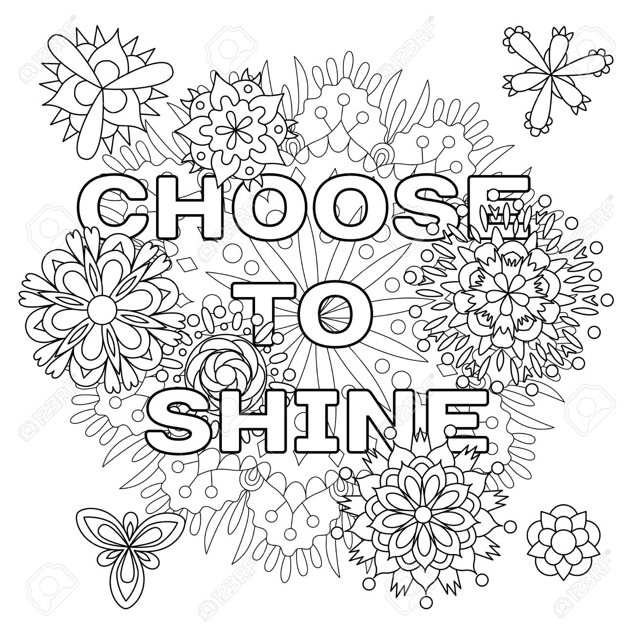 Vector coloring book for adults with inspiring quote and mandala flowers in the style with editable line - 147797665