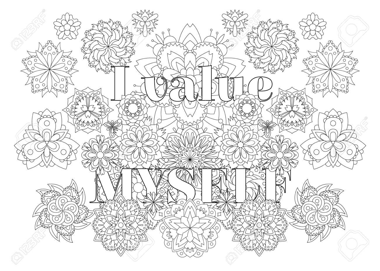Vector for adults with inspirational bodypositive quote and mandala flowers. - 148353427