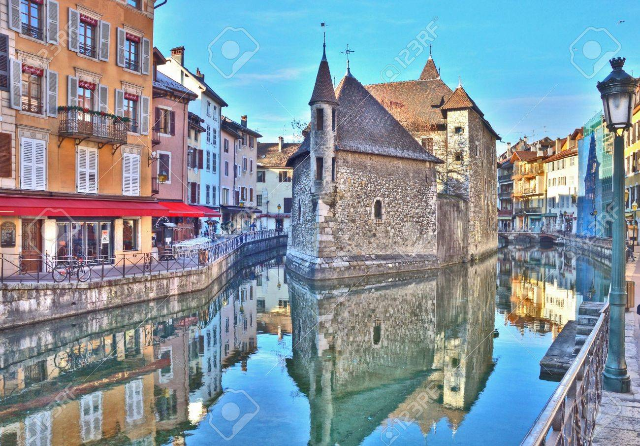 Medeival castle jail on the river in Annecy France Stock Photo - 3058131