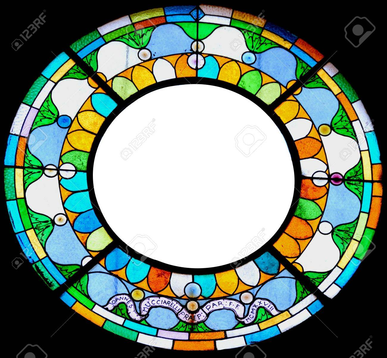 Circular Stained Glass Frame For Picture Or Message. Stock Photo ...