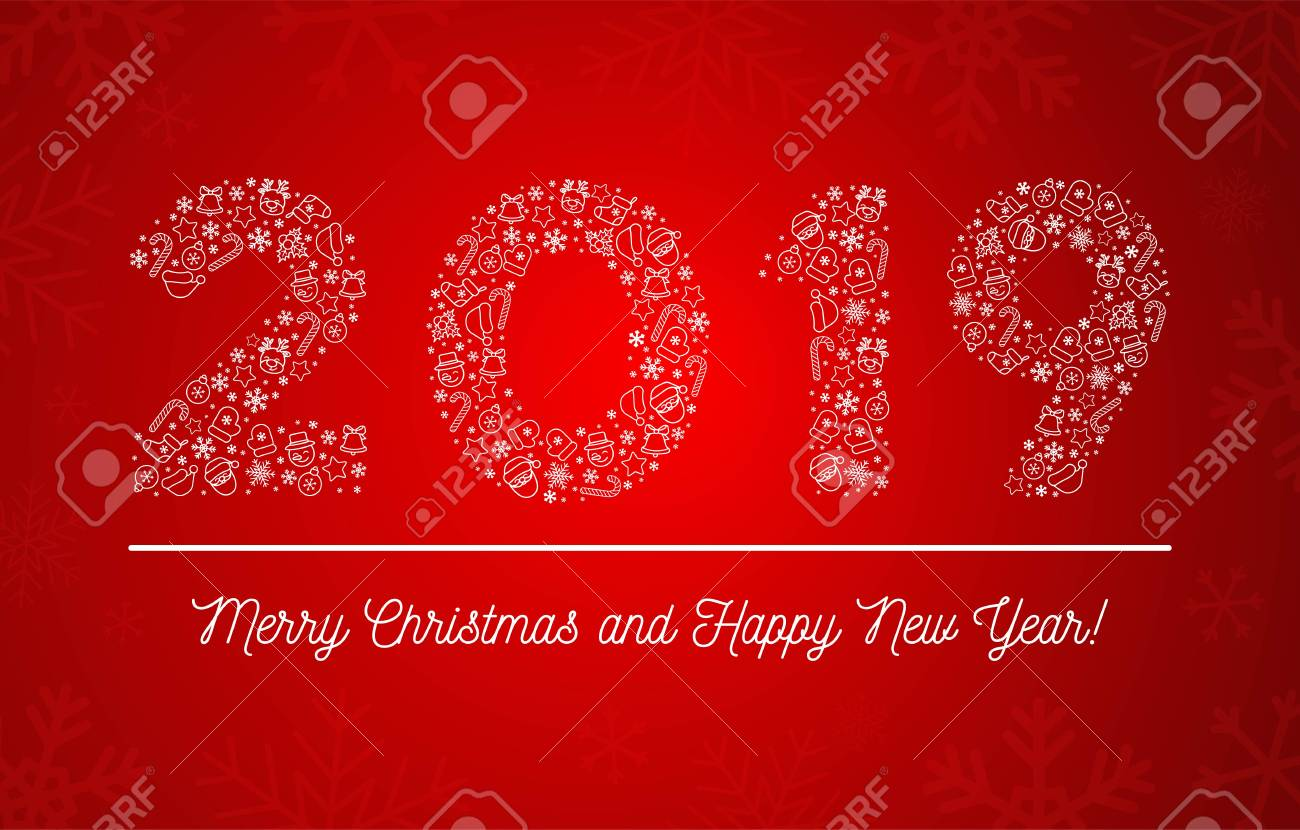 2019 merry christmas and happy new year vector illustration 2019 composed of new year