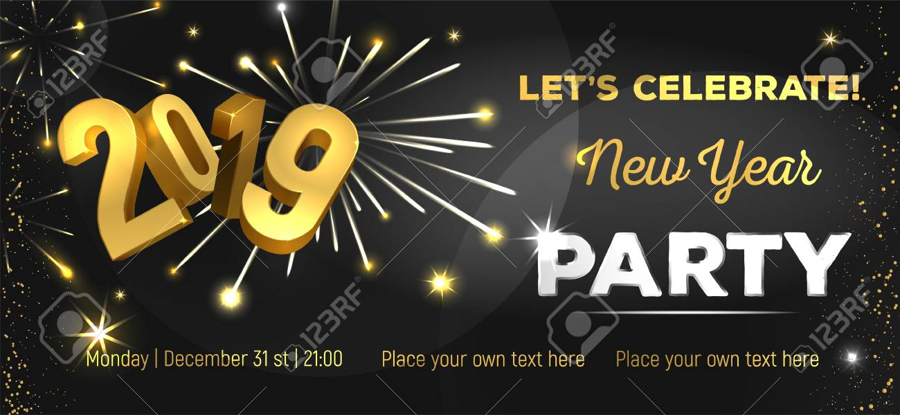 New Year Invitation Template | Let S Celebrate New Year Party 2019 Poster Flyer Banner Or