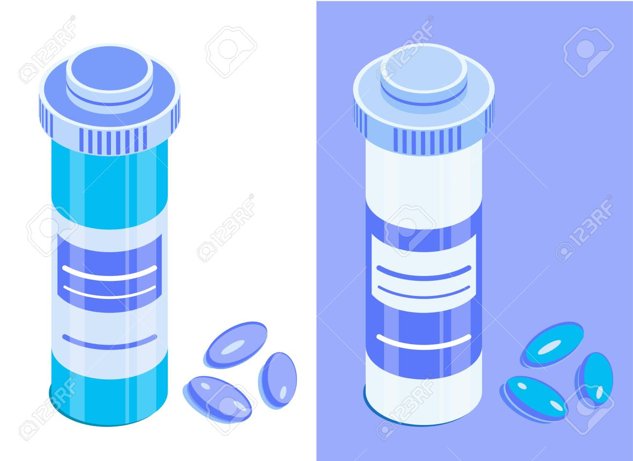 Pharmaceutical bottle and pills  Round medicine jar with closed