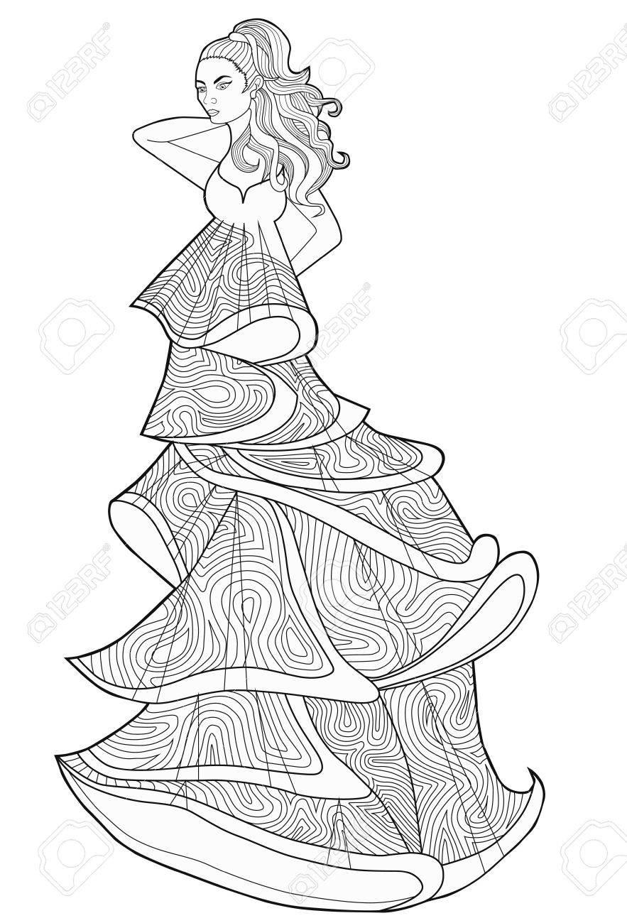Página Para Colorear Libro Para Adultos Mujer En Un Vestido Largo Moda