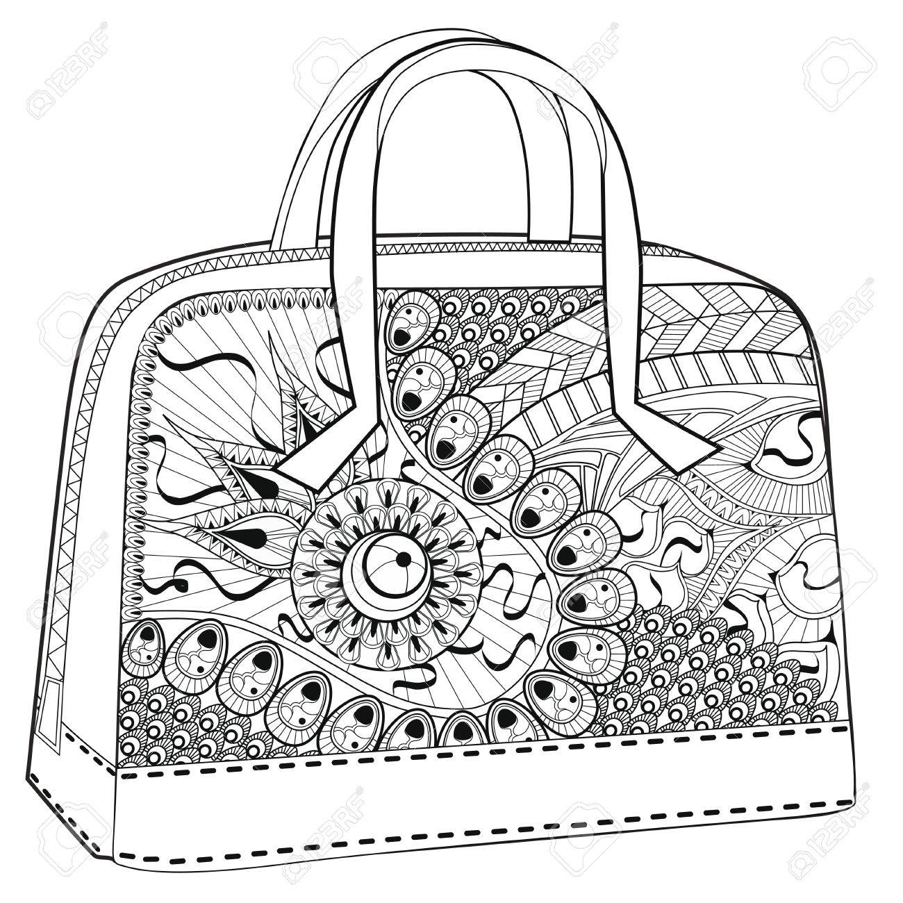 bag coloring for relaxation white background royalty free