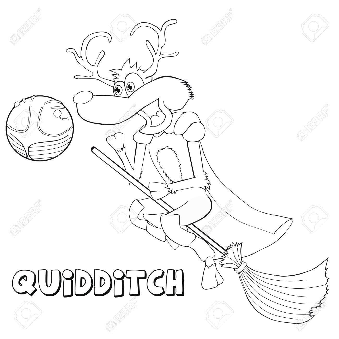 Coloring Book Deer Plays Quidditch Cartoon Style Clip Art For Children Stock Vector