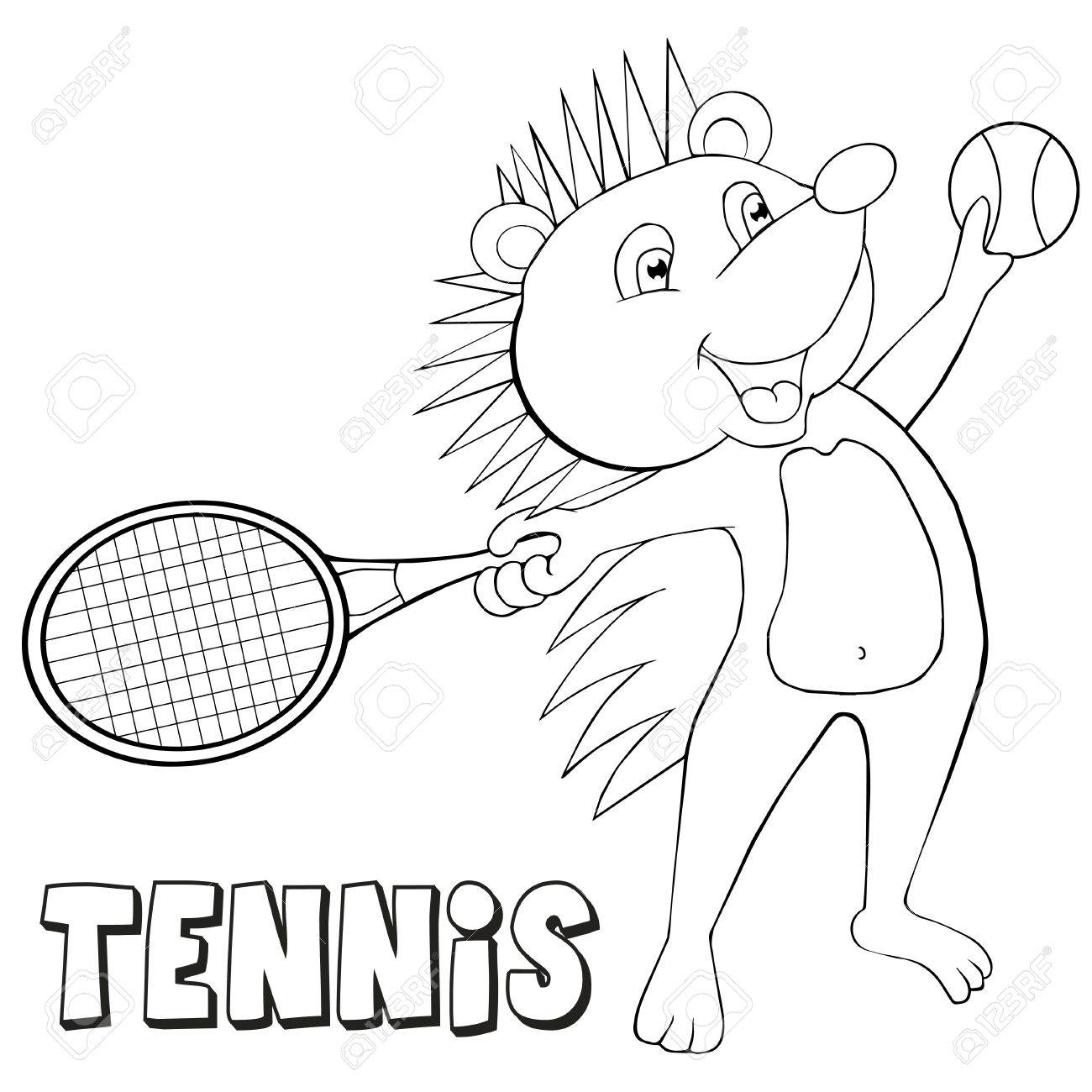 dibujo para colorear erizo juega al tenis estilo de la historieta clip art para