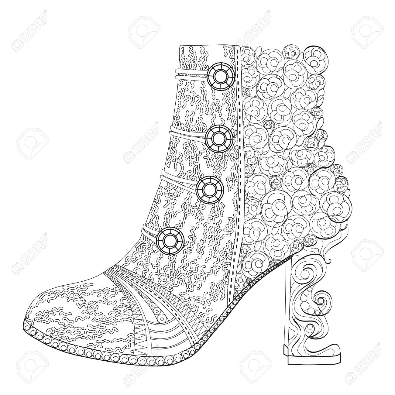 Shoe Coloring Page For Adults Royalty Free Cliparts Vectors And