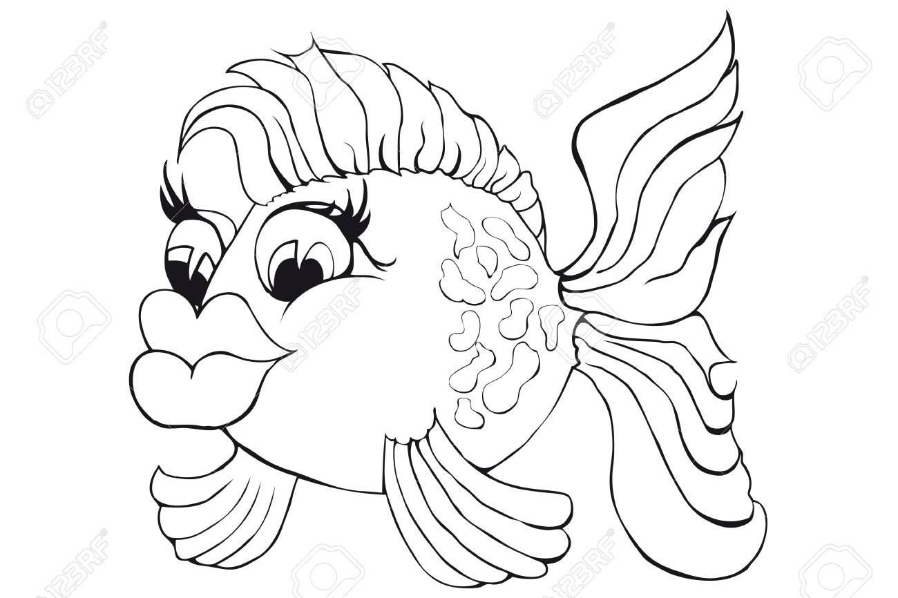 Coloriage Coeur Poisson.Coloriage Beau Poisson Image Isolee Sur Fond Blanc Illustration De